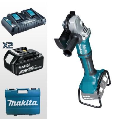 makita dga900pt2 akkus sarokcsiszoló 230mm (lxt) (bl motor) 2x18v/2x5.0ah akkukkal, töltővel, kofferrel