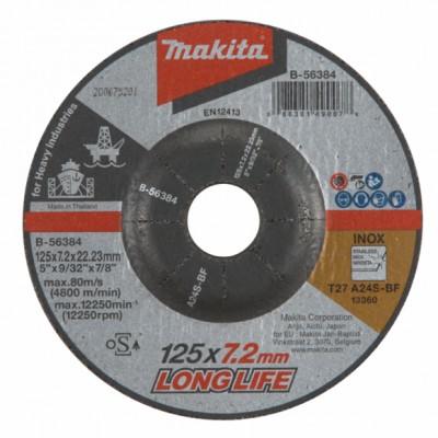 csiszolótárcsa inox 125x7,2mm a24s long life (makita b-56384)